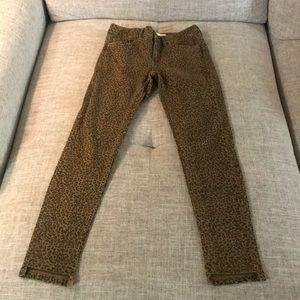Zara cheetah print denim pants